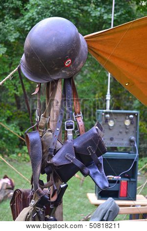 WWII Nazi Helmet Gear Soldier Tent German poster
