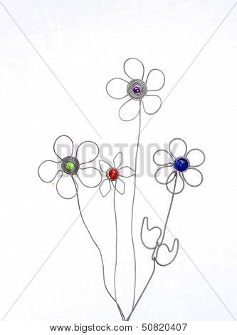 Crafted artificial decorative flower arrangement crafted out of wire poster