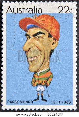 AUSTRALIA - CIRCA 1981: A stamp printed in Australia shows jockey Darby Munro circa 1981