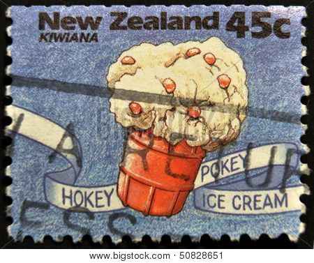 A stamp printed in New Zealand shows hokey pokey ice cream Kiwiana series