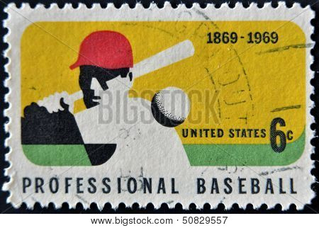 United States Of America - Circa 1969 : A Stamp Printed In Usa Dedicated To Professional Baseball