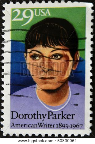 United States Of America - Circa 1967 : Stamp Printed In Usa Show American Writer Dorothy Parker