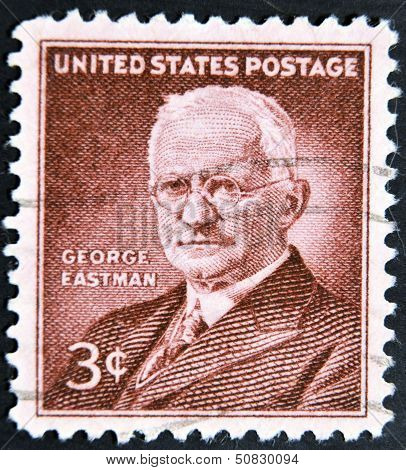 a stamp printed in USA shows George Eastman photography pioneer inventor and philanthropist