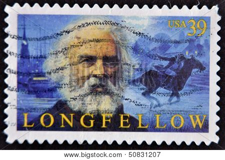 United States Of America - Circa 2007: A Stamp Printed In Usa Shows Henry Longfellow, Circa 2007