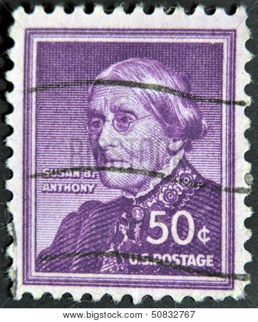 USA - CIRCA 1940: A stamp printed in USA shows portrait of Susan B. Anthony