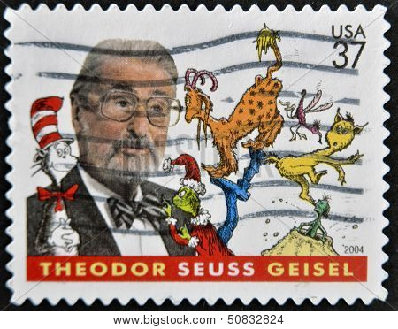 stamp printed in USA shows Theodor Seuss Geisel an American writer and cartoonist
