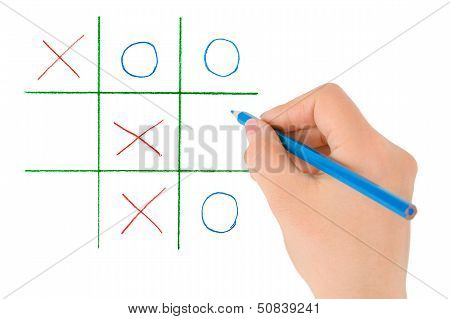 Hand With Pencil And Game
