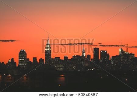 Midtown Manhattan skyline panorama at sunset