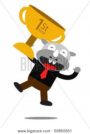 Illustration vector graphic of Rhino with business activity poster