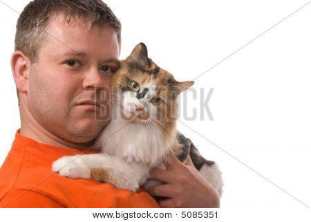 Man And Cat Look At You Isolated On White