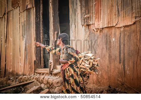Ethiopian Woman On The Road With A Bundle Of Firewood, Ethiopia, Africa