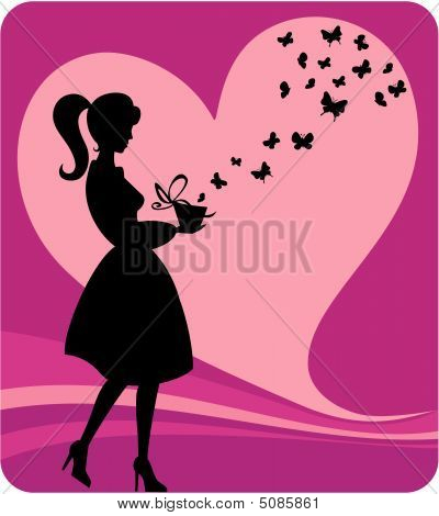 Vintage Girl With Romantic Gift