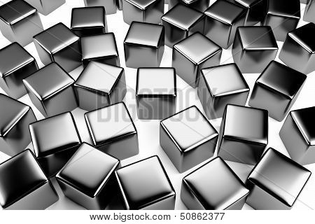 Steel Cube In The Crowd Of Scattered Cubes