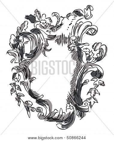 Vector vintage border frame baroque filigree engraving with retro ornament pattern in antique style ornate decorative calligraphy design poster