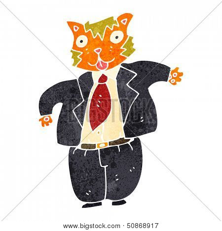 retro cartoon fat cat banker poster