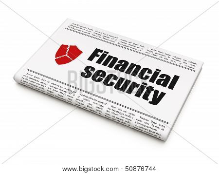 Protection news concept: newspaper with Financial Security and B
