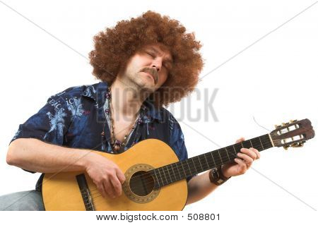 hippy with old guitar totally into his music poster