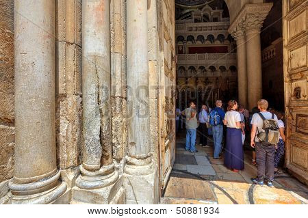JERUSALEM- AUGUST 21: Columns at the entrance to Church of the Holy Sepulchre - main pilgrimage destination contains Golgotha and the Tomb of Jesus Christ in Jerusalem, Israel on August 21, 2013.