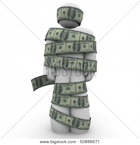 A man wrapped in hundred dollar bills to illustrate being strapped for cash, low on money, broke or bankrupt