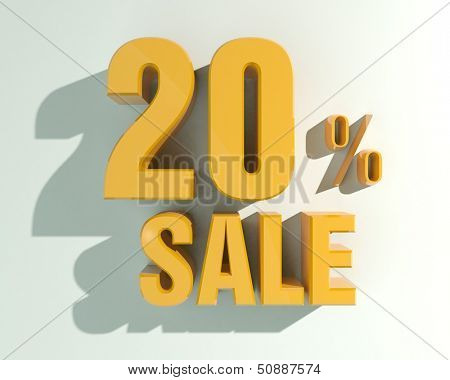 3d letters forming twenty percent symbol and the word sale