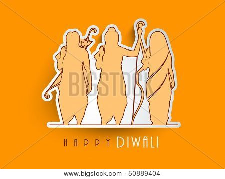Indian festival Happy Diwali sticky, tag or label with yellow silhouette of Hindu mythology Lord Rama with his wife Goddess Sita and brother Laxman.