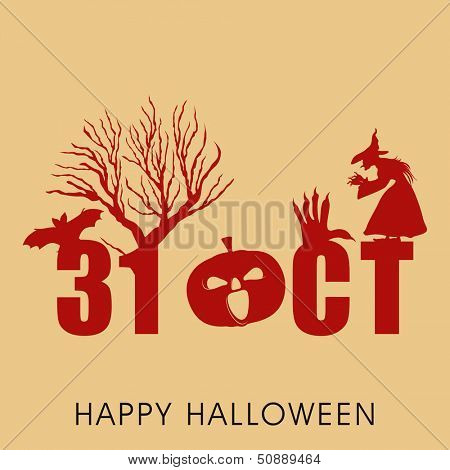 Scary Halloween background, banner or poster for trick or treat party with text 31 October, dead tree and an old witch.