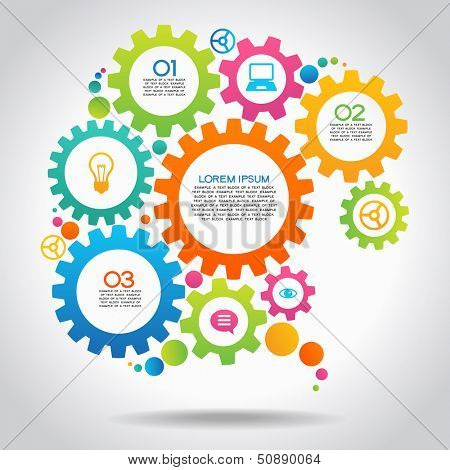 Vector Illustration of infographic design template with gear and icons. File is saved in AI10 EPS version. This illustration contains a transparency
