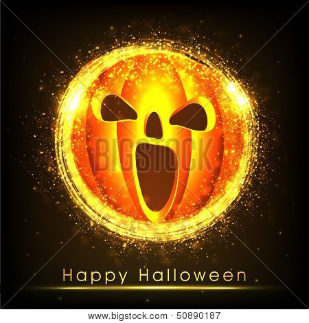 Scary smiling Halloween pumpkin on dark background for night parties. .
