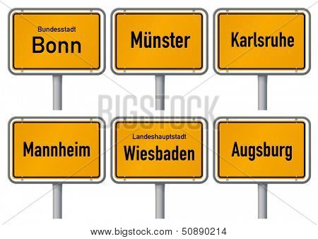 City limits signs of six major cities in Germany - Bonn, M�¼nster, Karlsruhe, Mannheim, Wiesbaden, Augsburg - with realistic shading and official typeface and proportions. Part 4.