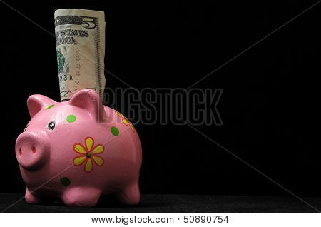 Save Money with One Pink Pig Piggy Bank poster