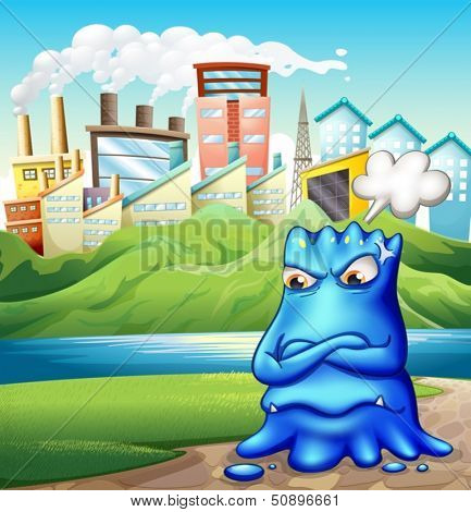Illustration of an angry fat blue monster in the city