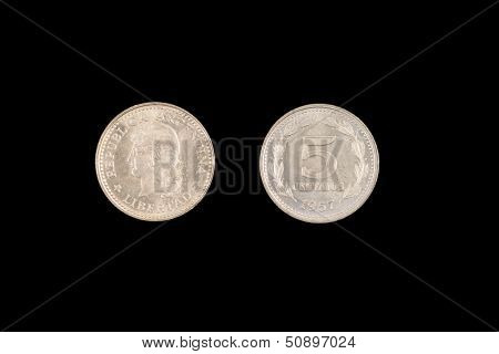 An old five centavo coin from Argentina minted in silver poster