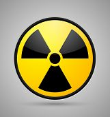 Round nuclear symbol isolated on grey background poster