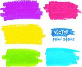 Bright rainbow colors paintbrush realistic vector strokes poster
