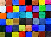a background of colorful pastel chalk cubes poster
