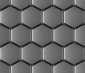 Metal surface of steel hexagons abstract industrial seamless background poster