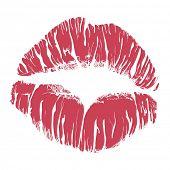 Lipstick kiss on white background poster