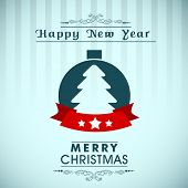 Vintage Happy New Year and Merry Christmas background with Xmas tree.  poster