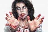 Bleeding Psychotic Woman in a Horror Themed Image poster