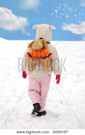 Little Child Going Alone In Winter Outside