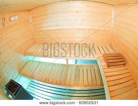 Inside small nice sauna in the wellness