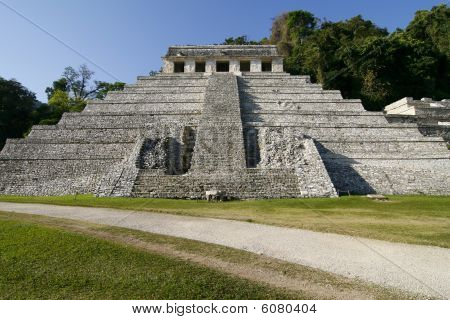 Temple Of Inscriptions. Ancient Mayan City Ruins In Palenque, Mexico