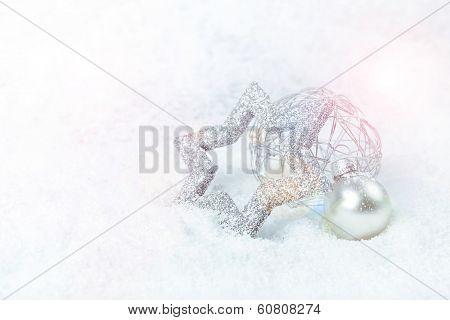Silver Xmas Decoration On Snow