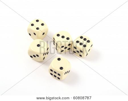 Close Up Photo Of Five Dice.