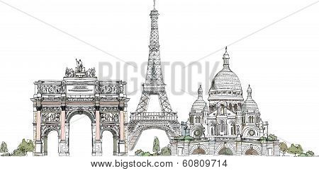 Sketch of Eiffel Tower, Triumph Arch in Paris Sacred Heart in Montmartre, Paris