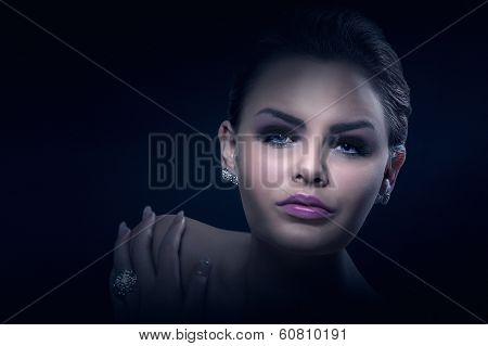 Dark Dramatic Portrait Of A Beautiful Woman