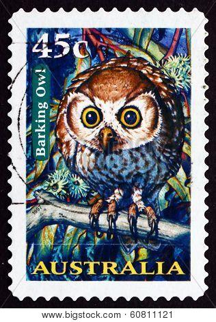 Postage Stamp Australia 1997 Barking Owl, Nocturnal Bird
