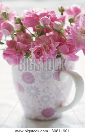 Pink Pastel Flower In Pink Cup.