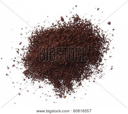 Ground Coffee Pile Isolated On White Background Overhead View