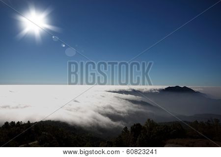 Mountain Cloud Mist Sky And Sun